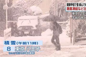 日本關東地區持續降雪 陸空交通大亂
