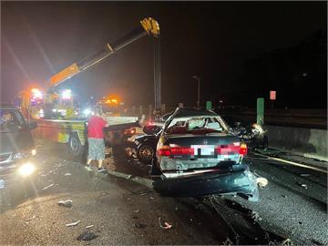 快新聞/國道北二高關西路段「7車連環撞」釀1死3傷