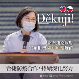 快新聞/捷克宣布贈台3萬劑疫苗 蔡英文致謝:Děkuji!台捷真摯友誼的寫照