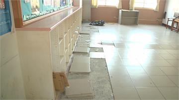 天冷!地板發出爆米花怪聲... 斗六鎮西國小教室磁磚「激爆」炸裂噴飛