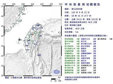 快新聞/地牛翻身!南投規模5.6地震 氣象局:與921成因不同
