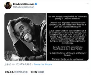 黑豹病逝聲明愛心數破600萬 推特認證「史上最高」喊:向國王致敬