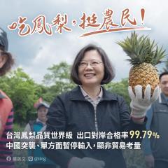 快新聞/中國禁台灣鳳梨進口 蔡英文譴責:請大家一起挺農民、吃鳳梨!