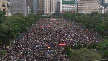 反送中/30萬黑傘佈滿香港維園 流水式集會爆滿6個足球場