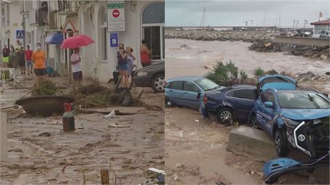 西班牙暴雨成災!東北部小鎮慘淹 道路中斷、數十輛車被沖進海裡