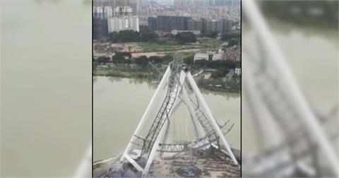 快新聞/中國福建興建中摩天輪崩塌畫面曝光 目前傷亡不明
