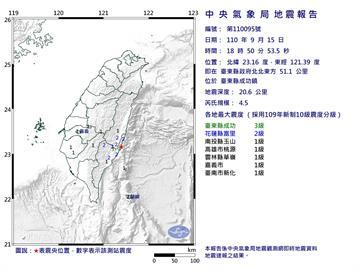快新聞/台東成功鎮18:50規模4.5地震 最大震度3級