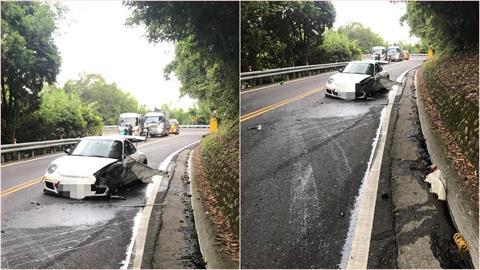 北宜公路保時捷對撞大貨車!900萬超跑輪胎噴飛…車毀幸2駕駛輕傷
