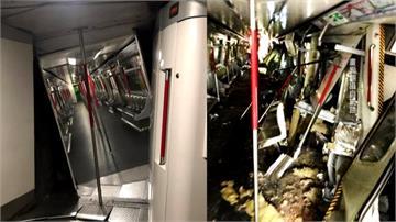 港版失速列車!香港地鐵對撞 車廂嚴重變形
