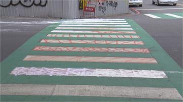 學校側門「綠斑馬」遭塗鴉 男子被逮稱:心情不好