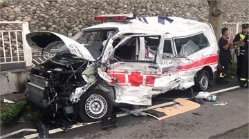 煤灰槽車打滑撞救護車駕駛昏迷肋骨斷
