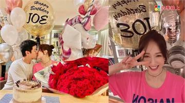陳喬恩捧大束玫瑰 與男友高調放閃!生日穿上定情衣 坤達與柯佳嬿夫婦、「七朵花」皆到場為她慶生