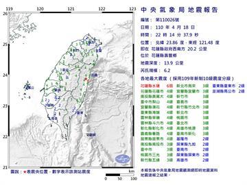 快新聞/22:14規模6.2地震 花蓮震度6弱東部及中部4級