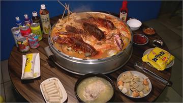 巨型韓式部隊鍋 滿滿龍蝦、泰國蝦份量驚人