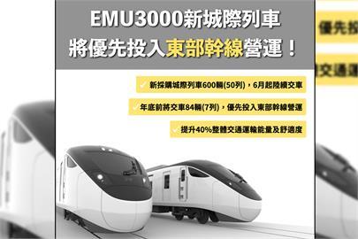 快新聞/台鐵600輛EMU3000型城際列車6月交車 優先投入東部幹線及跨線營運
