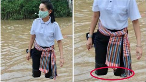 泰國副部長勘災「嚨係假」雙腿漂洪水上 拙劣P圖被抓包!挨轟急刪文