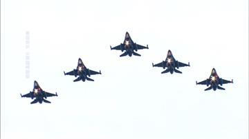 中職/F16戰機編隊衝場 Lamigo桃猿「鋼鐵英雄日」致敬國軍