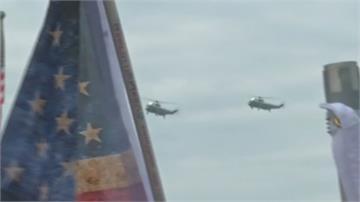 華府挺川遊行萬人響應!川普直升機三度飛越致意