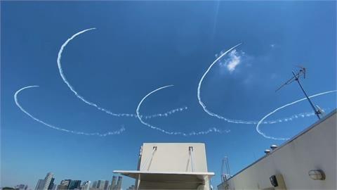 東京奧運就在明天! 「藍色衝擊波」噴出奧運五環