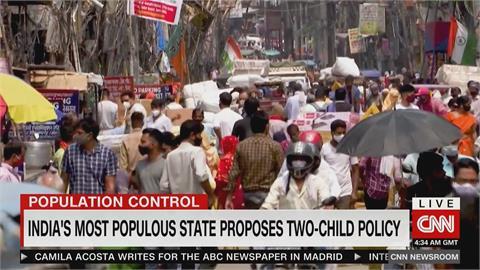 印度人口將成全球最多 2邦提出2胎化政策草案