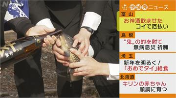 日本新春祈福 島根射鬼靶!富山給鯉魚灌酒放生 祈無病無災