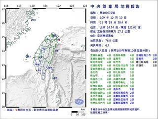 快新聞/國家警報響不停!21:20東部海域規模6.7地震「超有感」  最大震度4級