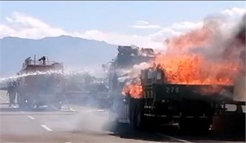 快新聞/台66線中午發生火燒車 觀音往大溪方向封閉約半小時