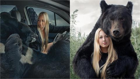 俄羅斯金髮正妹載「大黑熊」兜風!牠不關籠「坐副駕」自在出遊