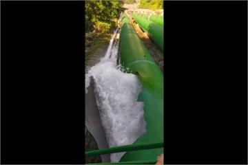 大觀電廠鋼管破裂 大量發電水外洩成泥流