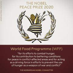 快新聞/2020年諾貝爾和平獎揭曉 「世界糧食計劃署」獲獎