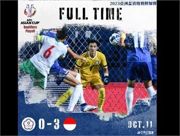 台灣男足0比3不敵印尼 無緣晉級亞洲盃資格賽
