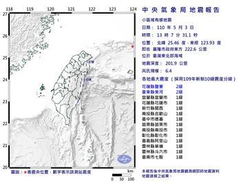 快新聞/地牛翻身!東北部海域13時07分規模6.4地震 最大震度2級