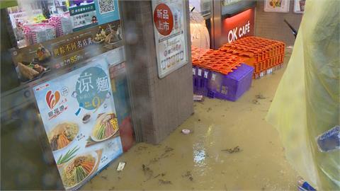 大雨狂炸 信義區淹水了民宅樓梯驚見瀑布 滿屋子泥濘