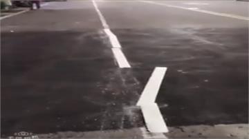 打臉高雄市路平專案?「路面標線」竟一踢就斷