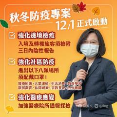 快新聞/「秋冬專案」12月啟動 蔡英文籲團結防疫 守住台灣珍貴的日常