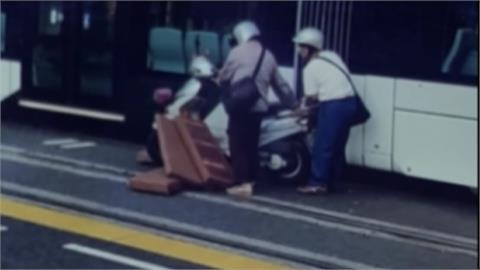高市輕軌遭機車擦撞 後座老翁眼角擦傷送醫