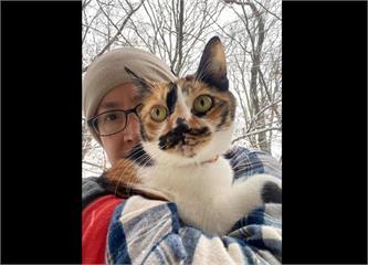 快新聞/「讓沒看過雪的主子阿花體驗一下」 蕭美琴雪地裡秀愛貓合照