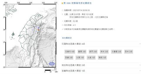 快新聞/花蓮20:55規模4.1地震! 最大震度4級