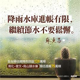 快新聞/雖降雨但水庫進帳有限 蘇貞昌籲:繼續節水不要鬆懈