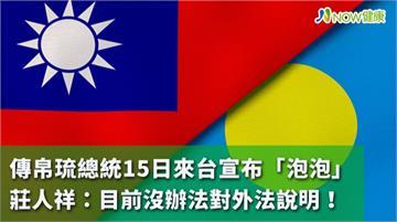 傳帛琉總統15日來台宣布「泡泡」 莊人祥:暫無法說明
