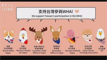 多國力挺台灣重回WHA!外交部小編繪動物貼圖表感謝