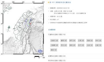 快訊/08:21花蓮近海地震規模4.7!最大震度3級