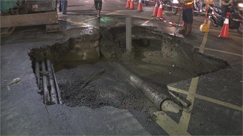 三重鬧區驚見5公尺天坑 市府緊急灌漿回填