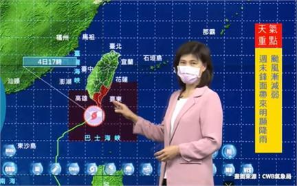 快新聞/彩雲颱風估晚間8:40解除海、陸警 氣象局示警:週末降雨恐更多