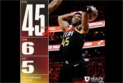 NBA/密契爾45分轟沉快艇 系列賽爵士率先開胡