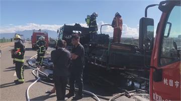大貨車上廢棄電纜 不明原因起火駕駛反應快及時跳車逃生
