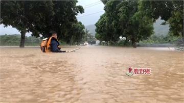 影/「白鹿」狂掃台東!鹿野鄉淹「1個小孩高」車輛險滅頂