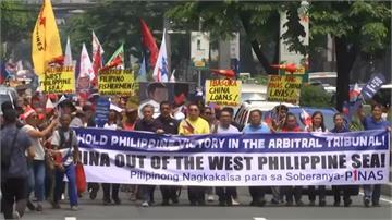 中國強佔南海主權 菲國漁民持布條抗議