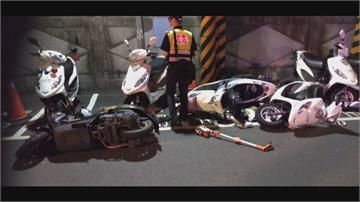 衰!疑蟑螂爬上左小腿  女騎士摔車連撞3輛警車