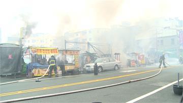 鎮瀾宮旁小吃攤大火 消防員衝火場移瓦斯桶